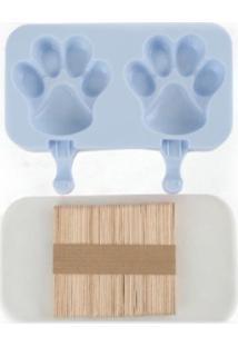 Forma De Picolé Em Silicone Patas 2 Cavidades E 50 Palitos Azul