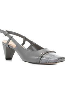 Scarpin Couro Shoestock Croco Salto Médio - Feminino-Cinza