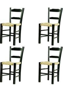 Kit 4 Cadeiras Lagiana Pequenas Eucalipto Preta Assento Palha - 59470 - Sun House