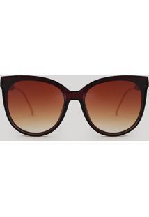 Óculos De Sol Redondo Feminino Oneself Marrom - Único