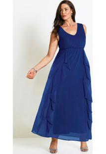 Vestido Longo Com Babados Azul Safira