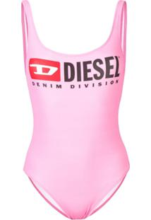 Diesel Maiô Com Estampa De Logo - Rosa