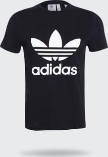 Camiseta Adidas Trefoil Originals Preta Feminina Pp