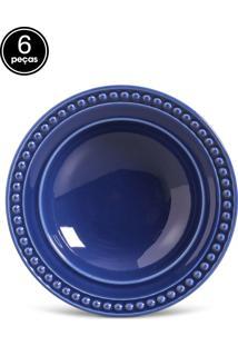Conjunto De Pratos Fundos Porto Brasil Atenas 6Pçs Azul-Marinho