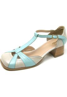 Sapato Retrô Bico Quadrado Touro Boots Feminino Off White E Azul - Kanui