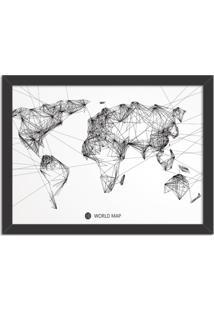 Quadro Decorativo Worldwide Linedrawing Preto - Médio