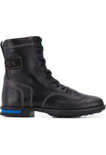 Diesel Ankle Boot De Couro - Preto