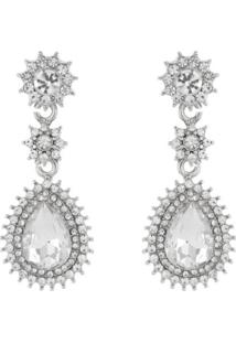 Brinco Pedraria Liage Pedra Gota Flor Mini Strass Cristal Metal Transparente Prata