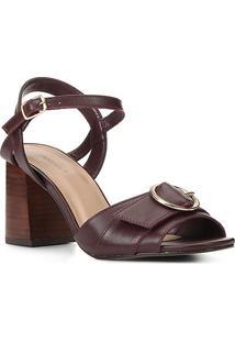 Sandália Couro Shoestock Fivela Salto Bloco Médio Feminina - Feminino-Vinho