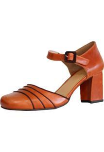 Sapato Em Couro Vintage Retrô Boneca Salto Grosso Alto