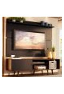 Rack Madesa Dubai E Painel Para Tv Até 65 Polegadas Com Pés - Rustic/Preto 7Kd8