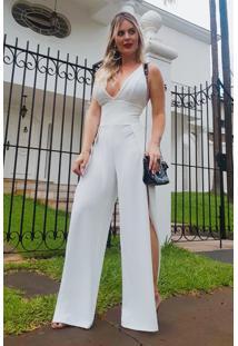 8f33d0aa9 ... Moda Code Dress. Ir para a loja; -53% Macacão Longo Crepe Amarração  Alças Decotado Fendas Off White