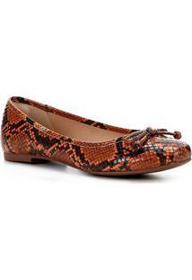 Sapatilha Shoestock Laço Olímpia Snake Feminina - Feminino-Caramelo