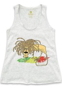 Camiseta Regatageek Cool Tees Quadrinhos Leão Jamaica Bob Marley Feminina - Feminino-Mescla Claro