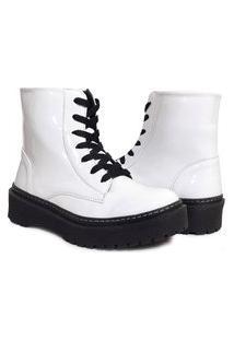Bota Feminina Sw Shoes Salto Baixo Branca