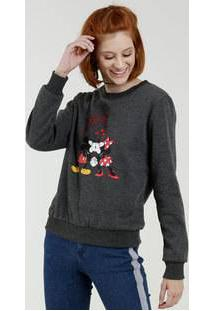 Blusão Feminino Moletom Estampa Mickey Minnie Disney