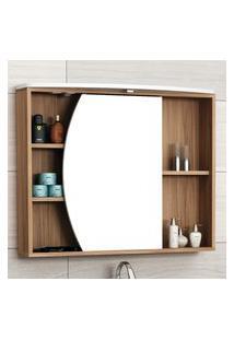 Espelheira Banheiro Bosi Duna Com Led 1 Porta 4 Prateleiras Nogal/Bco