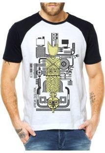 Camiseta Raglan Criativa Urbana África E Tecnologia - Masculino-Branco
