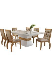 Sala De Jantar Ágata 1.80M Com 6 Cadeiras Imbuia/Off White Animale Chocolate