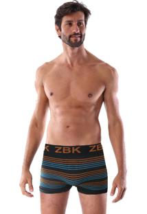 Cueca Boxer Sem Costura Corpo Preto, Listras Laranjas E Azuis