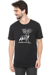 Camiseta De Algodão Masculina Eco Canyon Cervo Preta