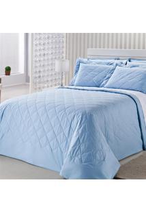 Colcha Royal Comfort Matelasse Percal 233 Fios Casal Azul Plumasul