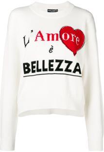 Dolce & Gabbana Suéter De Cashmere Com Padronagem - Branco