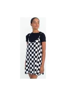 Vestido Slip Dress Em Viscose Com Estampa Quadriculada | Blue Steel | Preto | Gg