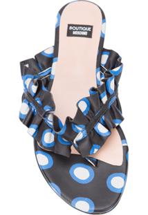 Boutique Moschino Sandália Poá De Couro Com Babado - Azul
