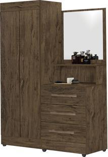 Guarda-Roupa Solteiro Com Espelho Penteadeira 2 Portas Onix Luxo -Móveis Primus - Amêndoa Wood