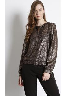 Jaqueta Rendada Com Fios Metalizados - Dourada & Preta