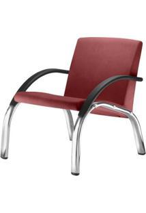 Poltrona Harmony Lounge Assento Crepe Vermelho Braco Preto E Base Cromada - 55049 - Sun House