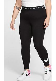Calça Legging Nike Sportswear Club Plus Size Cintura Alta Feminina - Feminino-Preto+Branco