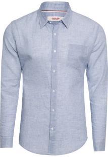 Camisa Masculina Cotton Linen Phuket - Azul