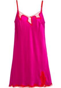 Camisola Cetim Bella Luna Pink E Vermelho