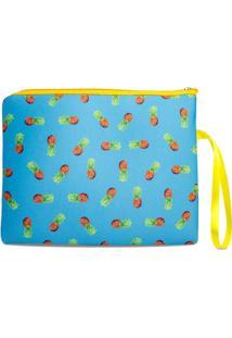 Necessaire Porta Biquíni Em Neoprene Tritengo - Mini Abacaxi Azul Zíper Amarelo - Unissex