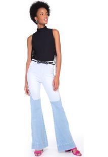 Calça Jeans Recorte Com Tonalidades