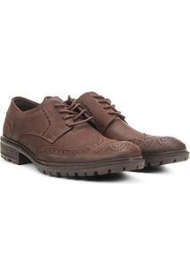 Sapato Social Couro Ellus Oxford Tratorado - Masculino-Café