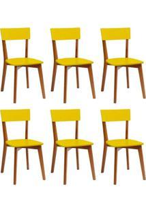 Conjunto Com 6 Cadeiras Tóquio Mel E Amarela