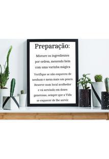 Quadro Decorativo Com Moldura Preparaã§Ã£O Preto - 20X30Cm - Multicolorido - Dafiti
