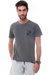 Camiseta D'Affari Estonada Estampada Masculino - Masculino-Cinza