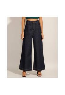 Calça Pantalona Jeans Com Pregas Cintura Super Alta Azul Escuro
