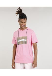 """Camiseta Masculina Carnaval Ursinho """"Animadinha"""" Com Capuz De Orelhinhas Manga Curta Rosa Claro"""