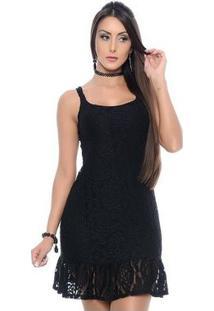 Vestido Bbonnie De Alça Curto De Renda - Feminino-Preto