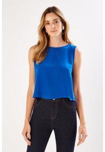 Blusa Cropped Sacada Feminina - Feminino-Azul Royal