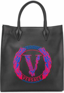 Versace Bolsa Tote De Couro Com Detalhe De Logo - Preto