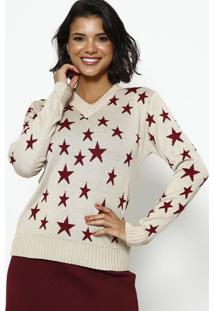 Blusa Em Tricot Estrelas - Bege & Vermelhaponto Aguiar