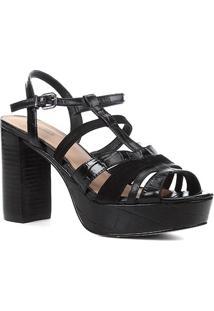 Sandália Couro Shoestock Meia Pata Tiras Mix Materiais Feminina - Feminino-Preto