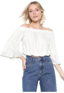 Blusa Cropped Mercatto Ombro A Ombro Lisa Off-White