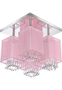 Lustre Plafon Quadclear Organza Quadrado Rosa Maravilhoso